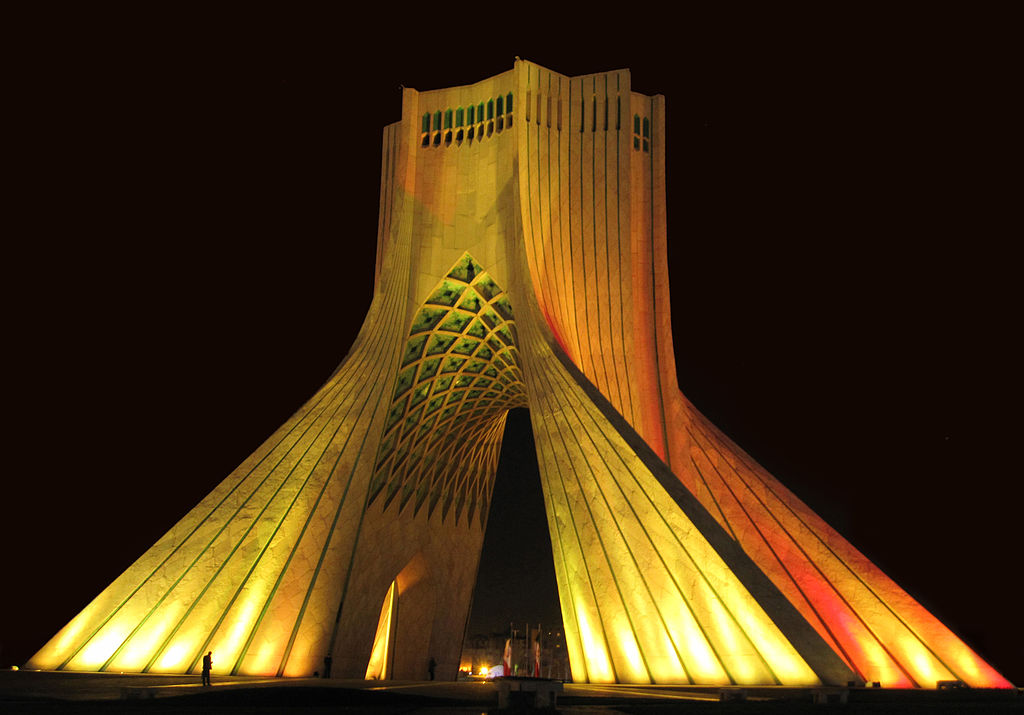 "The Azadi Tower  literally the ""Freedom Tower"" or ""Liberty Tower""), formerly known as the Shahyad Tower , meaning ""King's Memorial Tower""), is a monument in Tehran City, the capital of Iran, marking the west entrance to the city, and one of the symbols of the city"