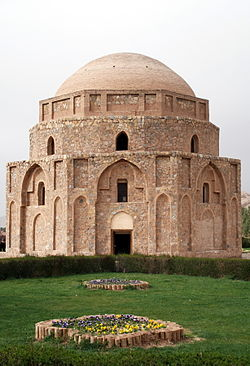 Jabalieh or Rock Dome, also known as the Gabri Dome, is located in Kerman, Iran. Gonbad-e Jabaliyeh also goes by the names, Gonbad-e Jabaliyeh, Gonbad-e Jabalīyeh, gnbd jblyh, The dome, a place of historical importance in Iran, has been constructed of stone and brick, though the building is of stone and gypsum, and its architectural affects have been inspired from the Sassanide period. It was repaired during the first decades of the advent of Islam in Iran. Its center lies at 