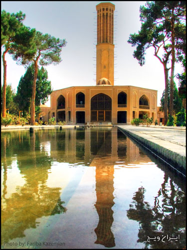 Dowlat Abad garden is one of the famous gardens of Persia at the time of Mohammad Taqi Khan (Zand period) designed and built. The garden of the aqueduct liquor and water flow in the garden of the same name, it will form the backbone of design. The coolest building vestibule and tower building complex that makes up the combined flow of water and air has been the most beautiful form. Dowlat Abad Garden with 33 m high tower from ground level masterpiece of engineering and architects Yazdi is a sign of genius