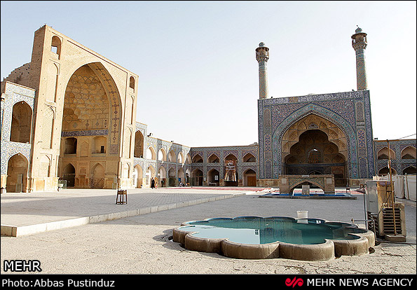 The Jameh Mosque of Isfahan   is the grand, congregational mosque  of Isfahan city, within Isfahan Province, Iran. The mosque is the result of continual construction, reconstruction, additions and renovations on the site from around 771 to the end of the 20th century. The Grand Bazaar of Isfahan can be found towards the southwest wing of the mosque. It is a UNESCO World Heritage Site since 2012.