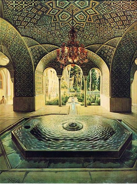 ".hvzkhanh Mansion Golestan, outstanding work of Mohammad Ghaffari known as Kamal-ol-Molk, is well-known Iranian painter. Spring house mansion into Iran in 1307 AH (1889 AD and 1268 nearly solar), with oil paint on canvas and measures 65 to 52. 5 cm was created by OL. In this painting, a scenic pond and fountain display is provided Golestan Palace. The work with the ""M painter you and the Waitress August 1307 AH"" is provided in the library of Golestan Palace Museum. It is now owned by the Museum of the Golestan Palace in Tehran. Holidays: Sundays and Thursdays"