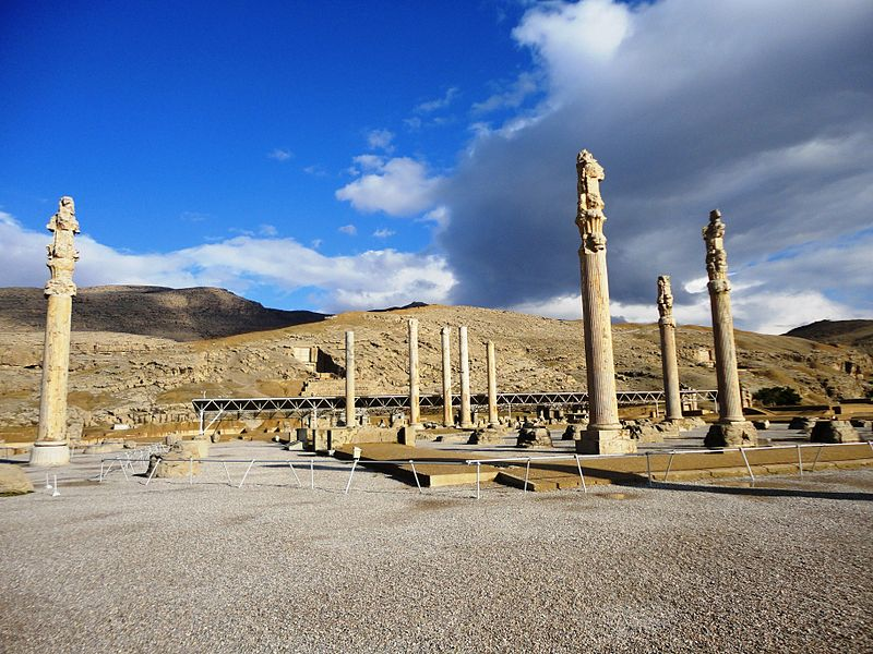 "Persepolis   literally meaning ""city of Persians"",  was the ceremonial capital of the Achaemenid Empire (ca. 550–330 BCE). Persepolis is situated 70 km northeast of city of Shiraz in Fars Province in Iran. The earliest remains of Persepolis date back to 515 BCE. It exemplifies the Achaemenid style of architecture. UNESCO declared the ruins of Persepolis a World Heritage Site in 1979."